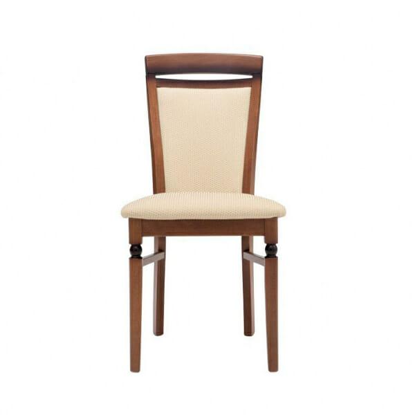 Класически стол от дърво и текстил Бавария - бежов с орех отпред