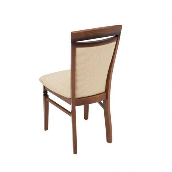 Класически стол от дърво и текстил Бавария - бежов с орех отзад