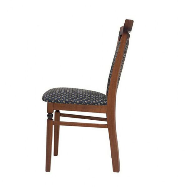 Класически стол от дърво и текстил Бавария - син отстрани