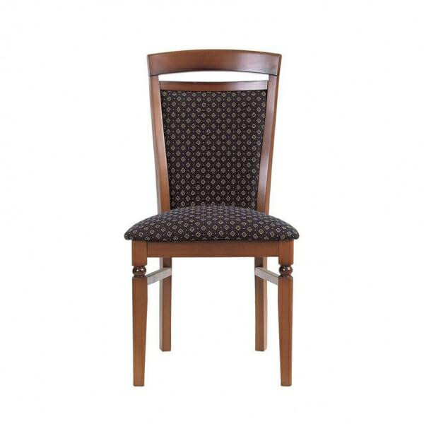 Класически стол от дърво и текстил Бавария - син отпред