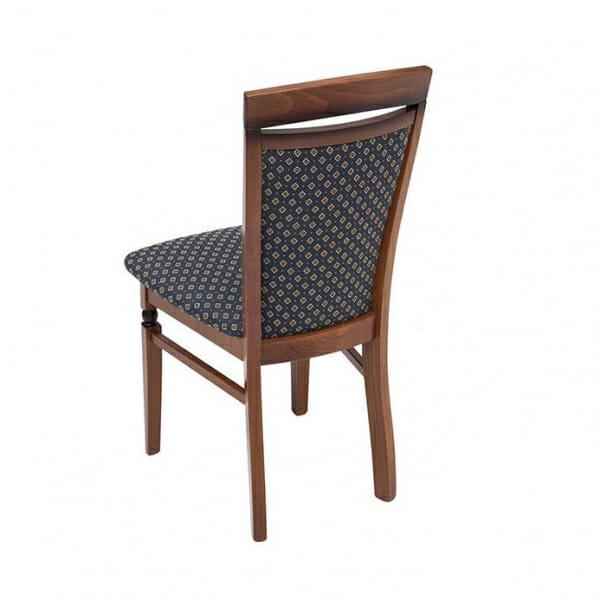 Класически стол от дърво и текстил Бавария - син отзад