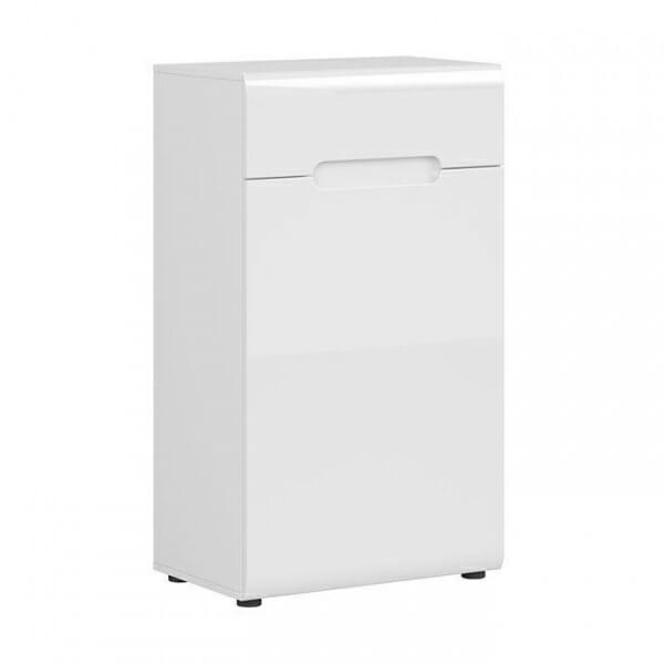 Компактен шкаф за антре в бял гланц Ацтека- декоративна лента бял гланц