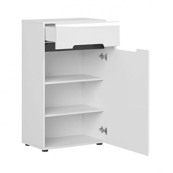 Компактен шкаф за антре в бял гланц Ацтека- разпределение