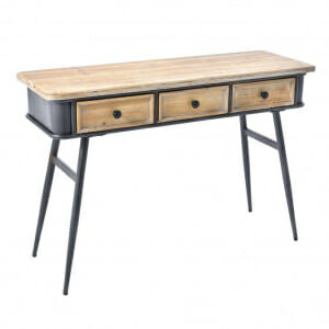 Конзолна маса с дървен плот и метални крака