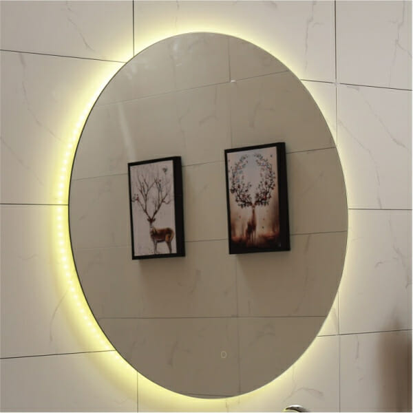Кръгло LED огледало за баня - топла светлина