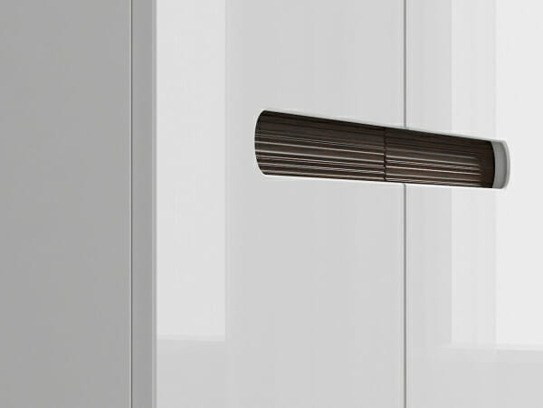 Модерен двукрилен гардероб Ацтека - бял гланц детайл