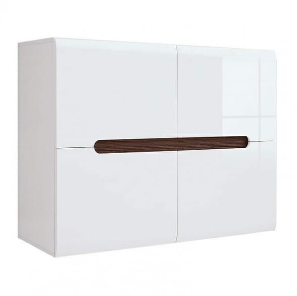 Модерен шкаф с 4 вратички Ацтека - бяло с бял гланц