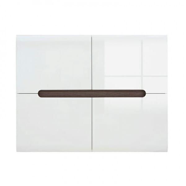 Модерен шкаф с 4 вратички Ацтека - бяло с бял гланц - отпред