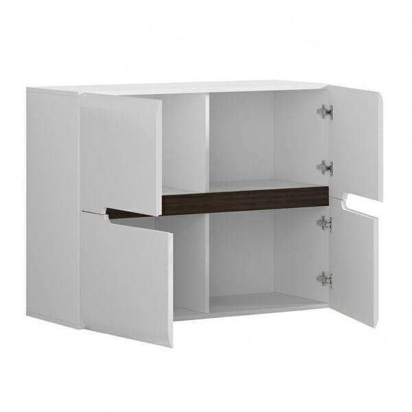 Модерен шкаф с 4 вратички Ацтека - бяло с бял гланц - разпределение