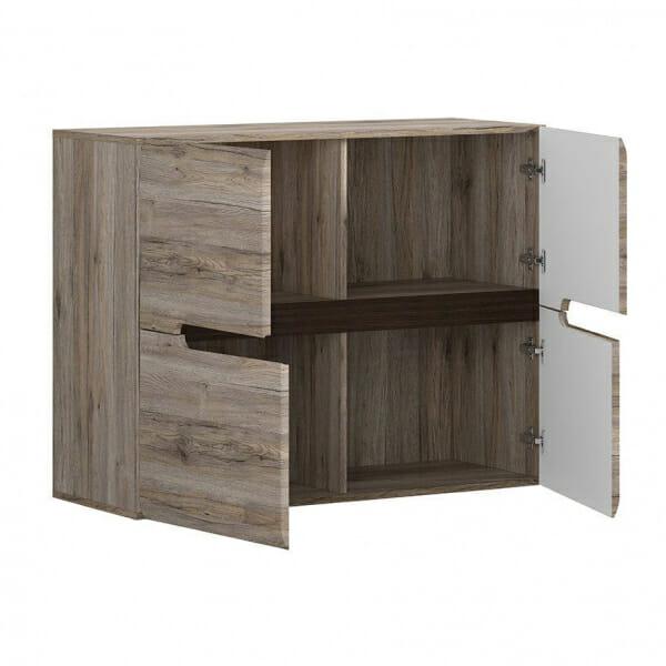 Модерен шкаф с 4 вратички Ацтека - дъб сан ремо- разпределение