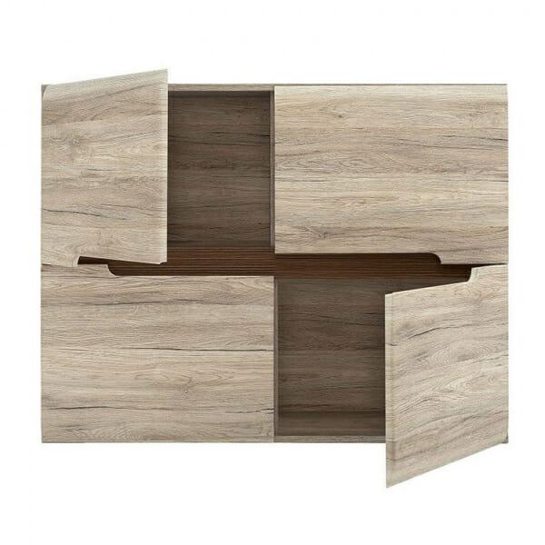 Модерен шкаф с 4 вратички Ацтека - дъб сан ремо- разпределение отпред