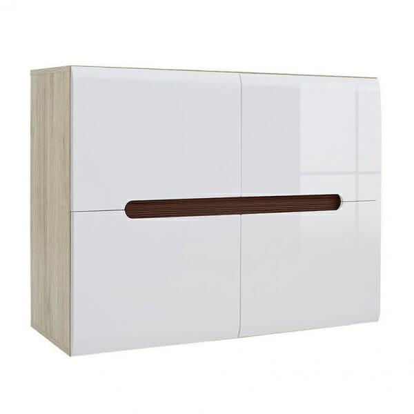 Модерен шкаф с 4 вратички Ацтека - дъб сан ремо с бял гланц