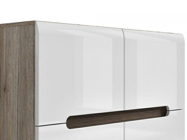 Модерен шкаф с 4 вратички Ацтека - дъб сан ремо с бял гланц - детайл