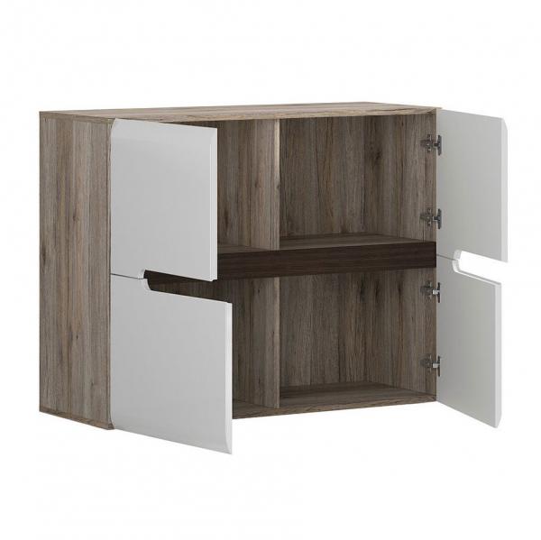 Модерен шкаф с 4 вратички Ацтека - дъб сан ремо с бял гланц - разпределение