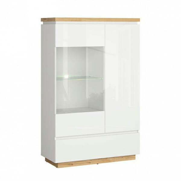 Модерен шкаф витрина с бял гланц Ерла