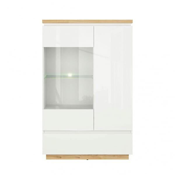 Модерен шкаф витрина с бял гланц Ерла - отпред