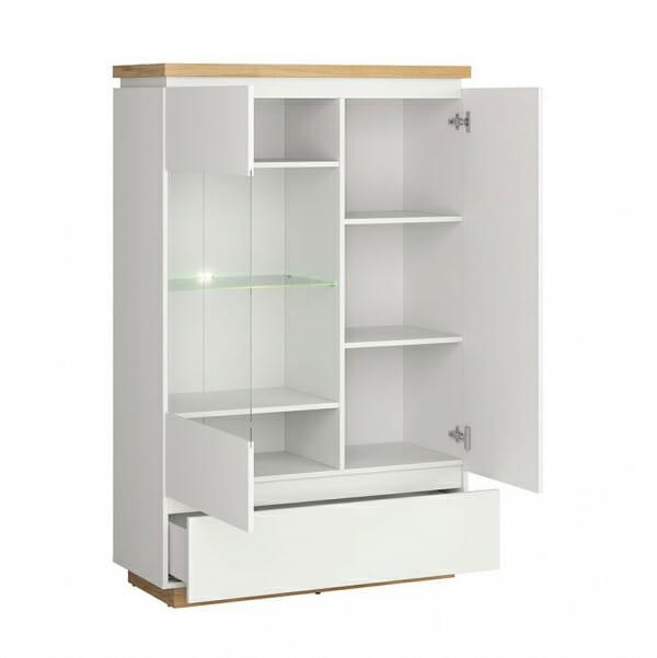 Модерен шкаф витрина с бял гланц Ерла - разпределение