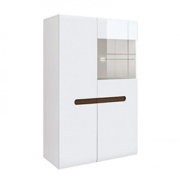 Модерен шкаф витрина с осветление Ацтека - бяло с бял гланц