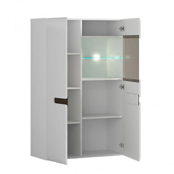 Модерен шкаф витрина с осветление Ацтека - бяло с бял гланц - разпределение