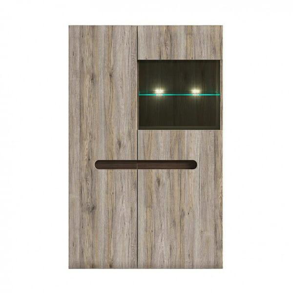 Модерен шкаф витрина с осветление Ацтека - дъб сан ремо