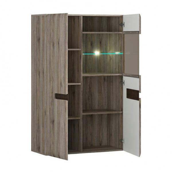 Модерен шкаф витрина с осветление Ацтека - дъб сан ремо - разпределение