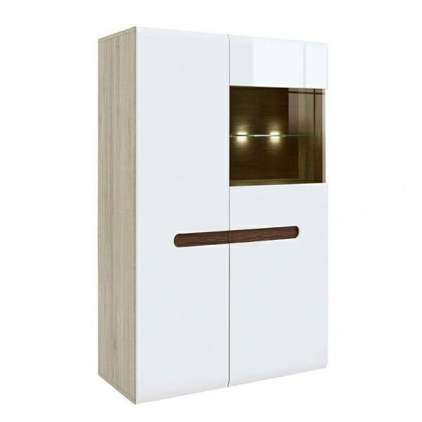 Модерен шкаф витрина с осветление Ацтека - дъб сан ремо с бял гланц