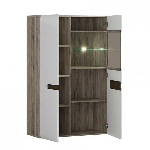 Модерен шкаф витрина с осветление Ацтека - дъб сан ремо с бял гланц - разпределение