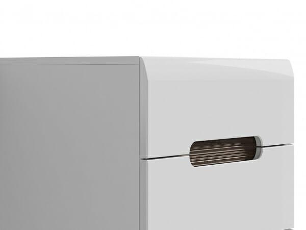 Модерен скрин с 5 чекмеджета Ацтека - бяло с бял гланц - детайл