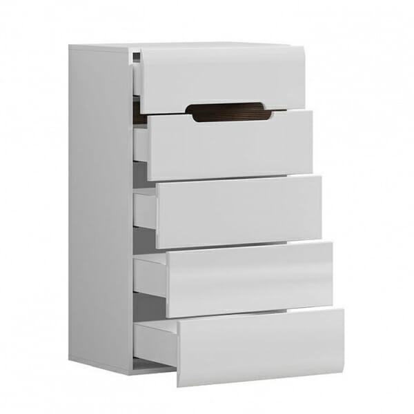 Модерен скрин с 5 чекмеджета Ацтека - бяло с бял гланц - разпределение