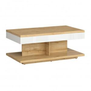 Модерна холна маса в бяло и дървесен цвят Ерла