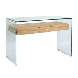 Модерна конзолна маса от стъкло с рафт и чекмедже