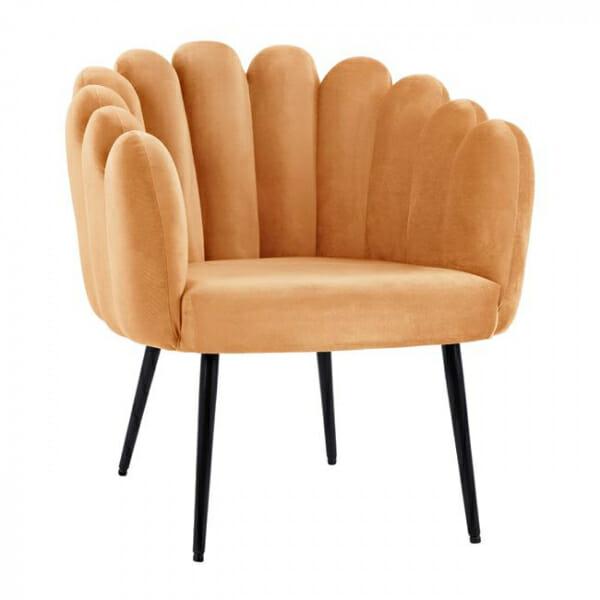 Модерно кадифено кресло с метални крака-охра
