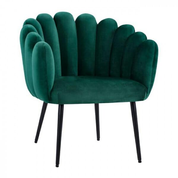 Модерно кадифено кресло с метални крака-зелен