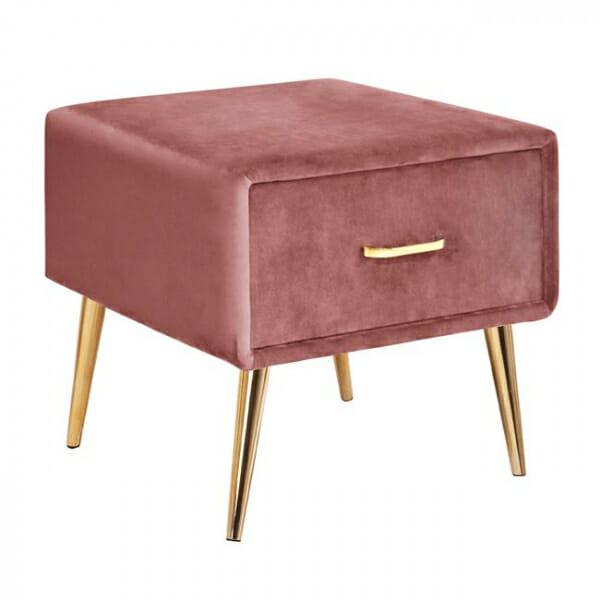 Нощно шкафче в кадифе и метална основа в розово