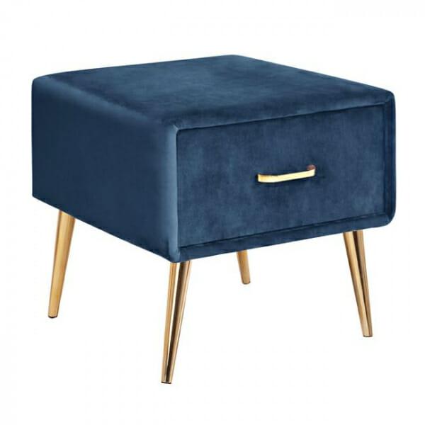 Нощно шкафче в кадифе и метална основа в синьо