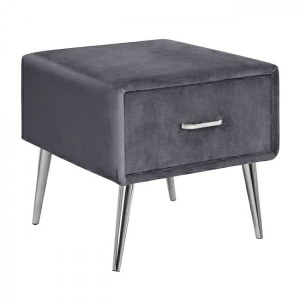 Нощно шкафче в кадифе и метална основа в сиво