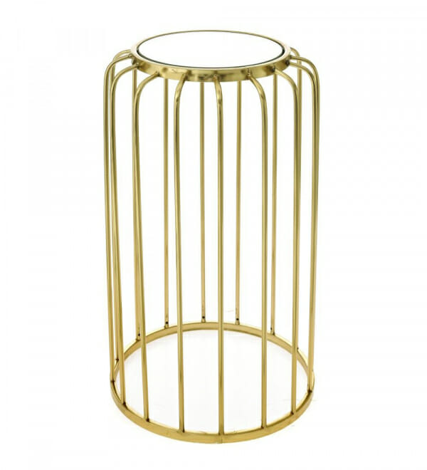 Помощна масичка в златно с кръгъл огледален плот-размер 1