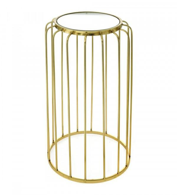 Помощна масичка в златно с кръгъл огледален плот-размер 2