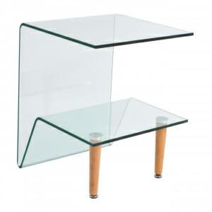 Помощна стъклена масичка с два плота и дървени крачета