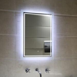 Правоъгълно LED огледало за баня с нагревател