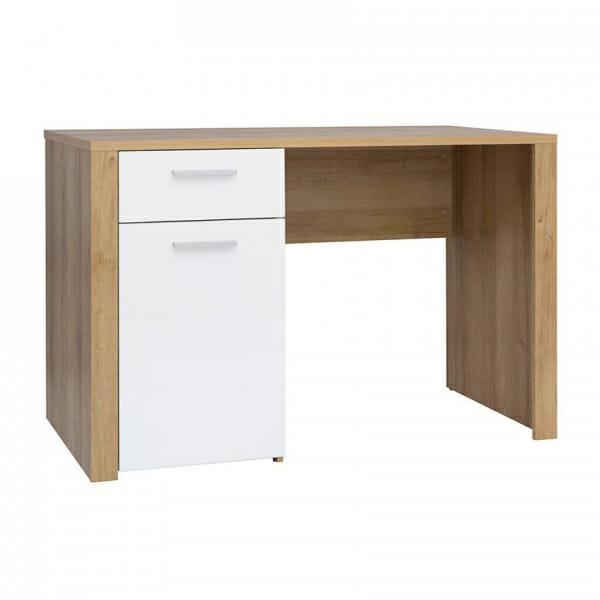 Работно бюро в дървесен цвят и бял гланц Балдер