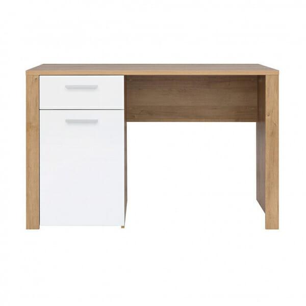 Работно бюро в дървесен цвят и бял гланц Балдер - отпред