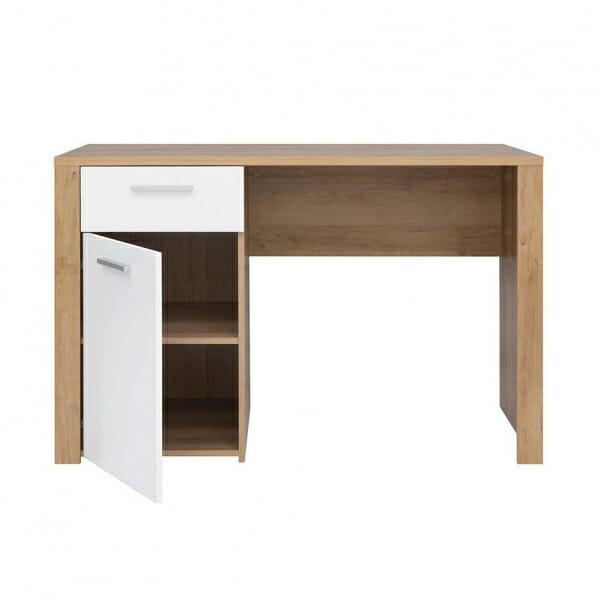 Работно бюро в дървесен цвят и бял гланц Балдер - разпределение