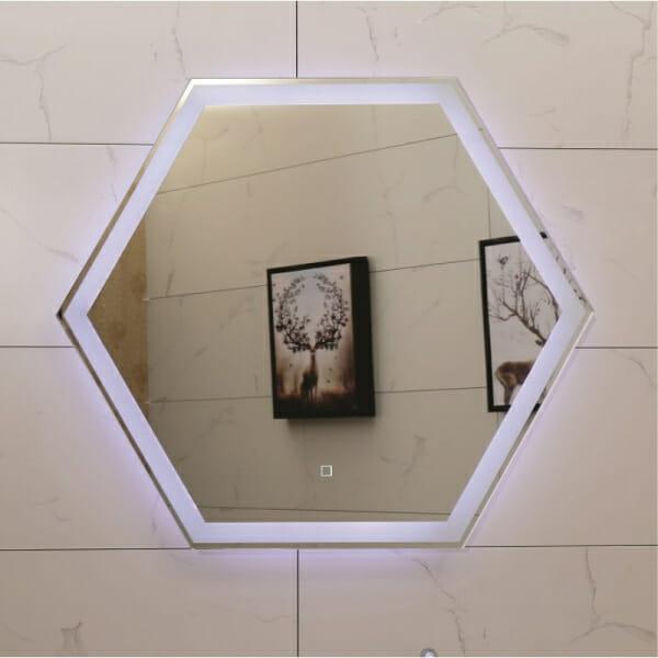 Шестоъгълно LED огледало за баня