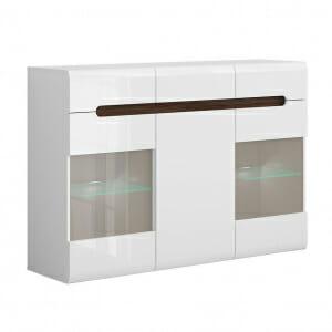 Широк шкаф с витрина и осветление Ацтека - бяло с бял гланц