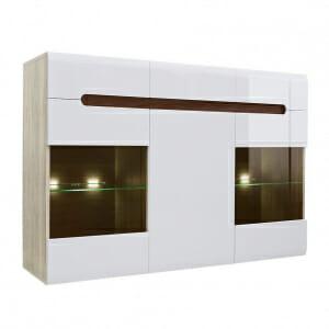 Широк шкаф с витрина и осветление Ацтека - дъб сан ремо с бял гланц