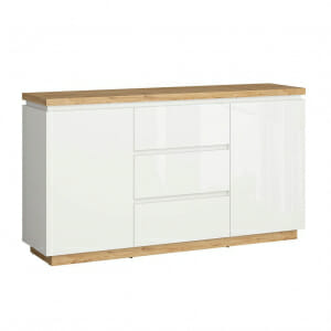 Широк шкаф в бял гланц и дървесен цвят Ерла
