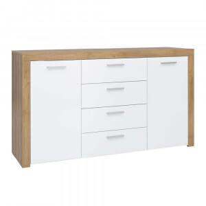 Широк шкаф в дървесен цвят и бяло Балдер