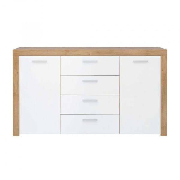 Широк шкаф в дървесен цвят и бяло Балдер - отпред