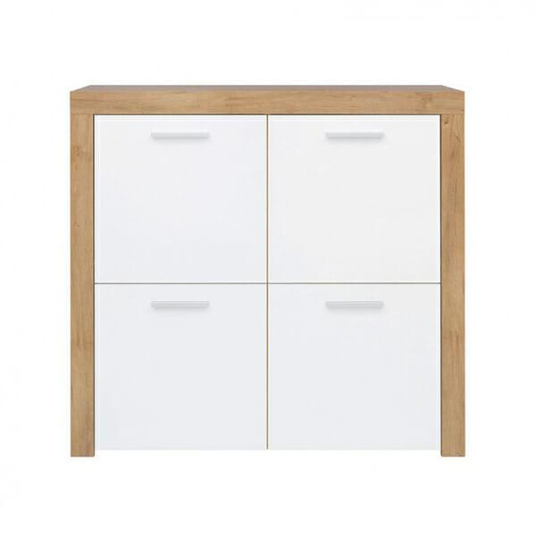 Шкаф с 4 бели гланцирани вратички Балдер - отпред